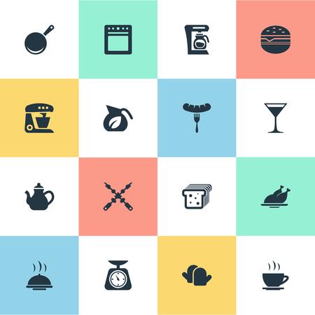 벡터 일러스트 레이 션 간단한 주방 아이콘의 집합입니다. 구운 가금류, 칵테일, 요식업 및 기타 동의어 샌드위치, 커피 및 프라이팬.