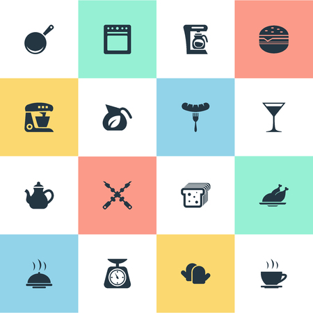 Vector Illustration Set Of Simple Kitchen Icons. Elements Grilled Poultry, Cocktail, Catering And Other Synonyms Sandwich, Coffee And Skillet.