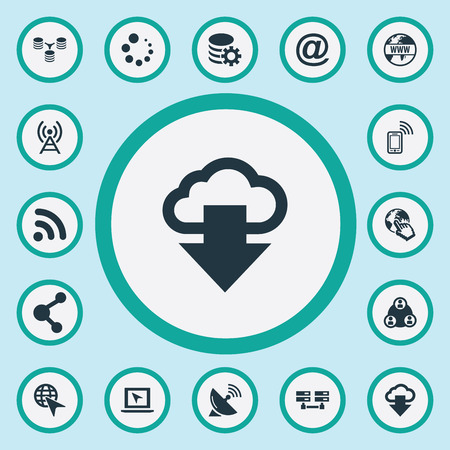 Vector Illustration Set Of Simple Network Icons. Elements Data Center, Processing, Internet And Other Synonyms Progress, Database And Antenna. 向量圖像