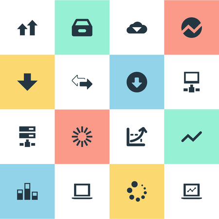 Vector Illustration Set Of Simple Data Icons. Elements Drawer, Notebook, Down Arrow And Other Synonyms Finance, Arrow And Chart.