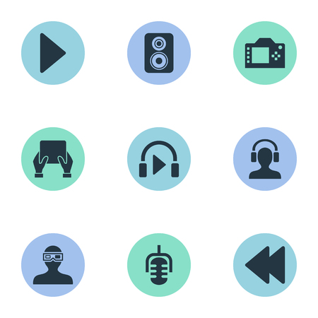 Vector Illustration Set Of Simple Multi Icons. Elements Music Listening, Meloman, Loudspeaker And Other Synonyms Camera, Backward And Record.