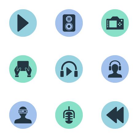 Vectorillustratiereeks Eenvoudige Multipictogrammen. Elementen Muziek Luisteren, Meloman, Luidspreker En Andere Synoniemen Camera, Achteruit & Opname. Vector Illustratie