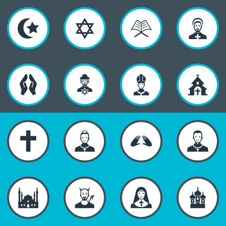 Vector Illustration Set Of Simple Religion Icons. Elements Orison, Chaplain, Devil And Other Synonyms Parish, Chaplain And Catholic.