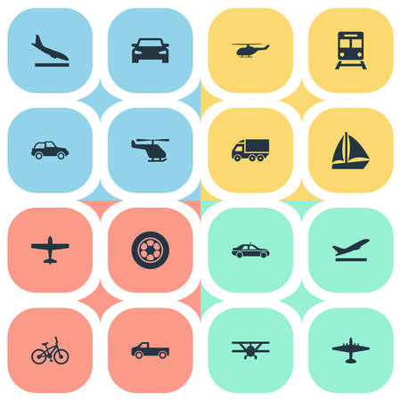 Vector Illustration Set Of Simple Transportation Icons. Elements Downgrade, Plane, Aerocab And Other Synonyms Car, Aircraft And Airliner.