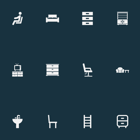 Vector Illustration Set Of Simple Furnishings Icons. Elements Display, Stairway, Container And Other Synonyms Stand, Bed And Night. Illustration