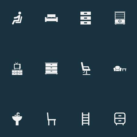 Vector illustratie Set van eenvoudige meubels pictogrammen. Elementenvertoning, trap, container en andere synoniemenstandaard, bed en nacht.