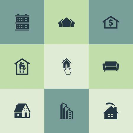 Vectorillustratiereeks Eenvoudige Echte Pictogrammen