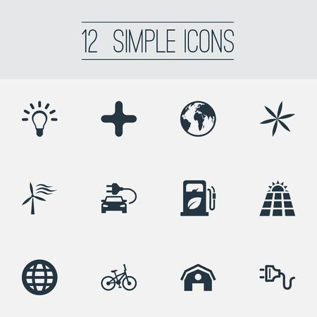 Vector Illustration Set Of Simple Green Icons Illustration