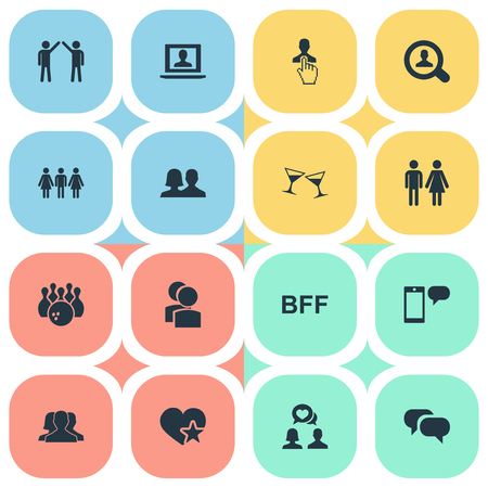 Vector Illustration Set Of Simple Buddies Icons