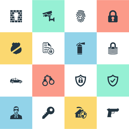 Vector Illustration Set Of Simple Security Icons