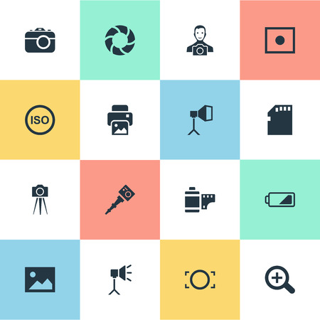 Vector Illustration Set Of Simple Photography Icons Ilustração