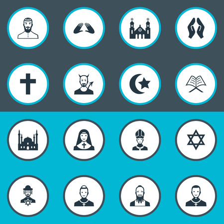 Vector Illustration Set Of Simple Religion Icons Çizim