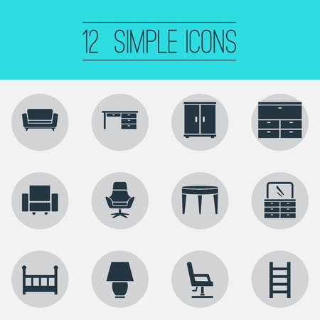 Vector Illustration Set Of Simple Furniture Icons Illustration