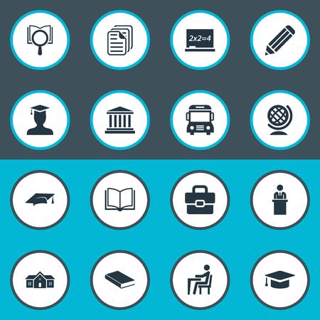 Vector Illustration Set Of Simple School Icons Ilustração