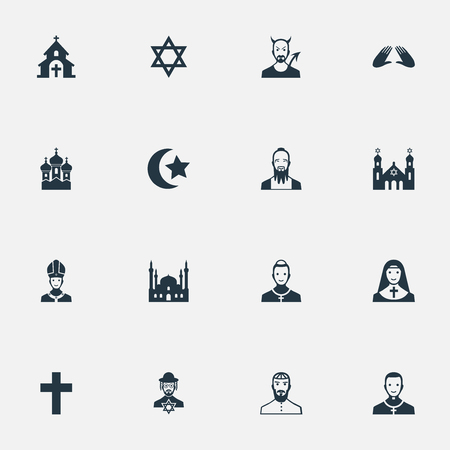 Vector Illustration Set Of Simple Religion Icons 向量圖像