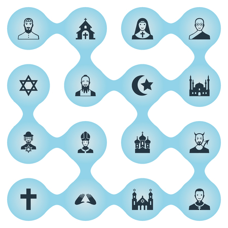 Vector Illustration Set Of Simple Religion Icons Ilustração