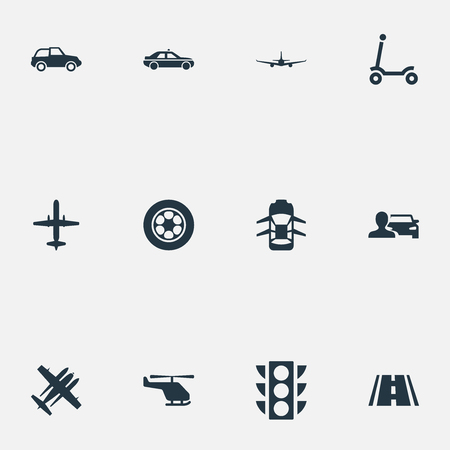 Vector Illustration Set Of Simple Transportation Icons Ilustração