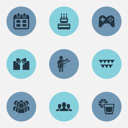 Vector Illustration Set Of Simple Celebration Icons Illustration