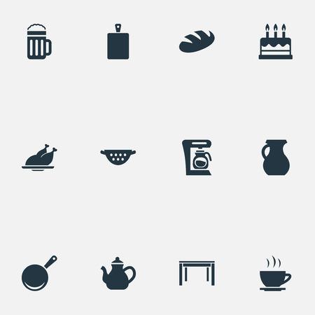 簡単な料理のアイコンのベクトル イラスト セット