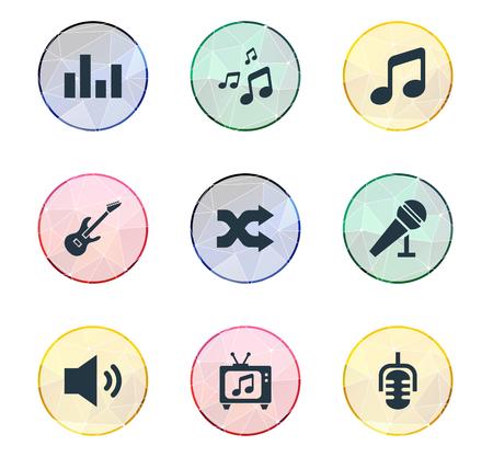 Vector illustratie Set van eenvoudige muziek iconen
