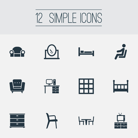 Vector Illustration Set Of Simple Furniture Icons Ilustração
