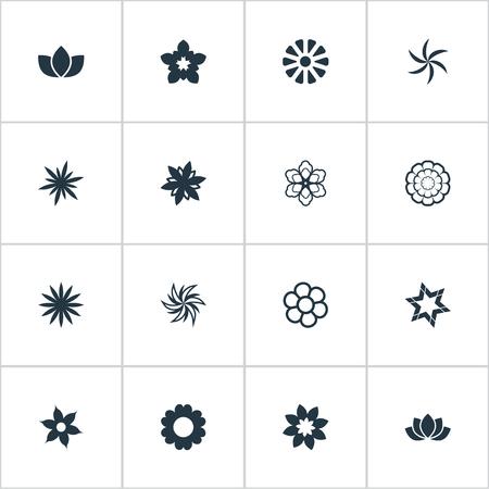 Vector Illustratie Set Van Eenvoudige Bloem Pictogrammen Stock Illustratie