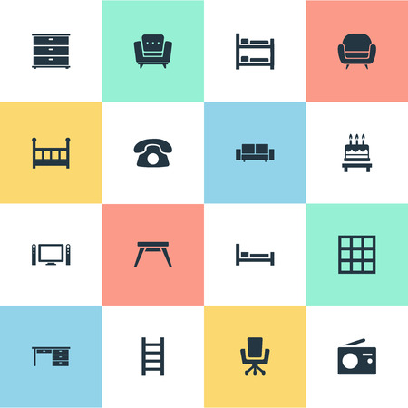 Vector Illustration Set Of Simple Furniture Icons Иллюстрация