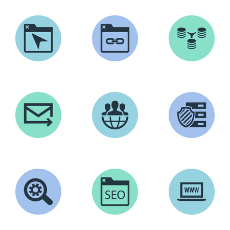 Vector Illustration Set Of Simple SEO Icons Illustration