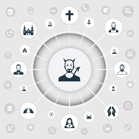 Vector Illustration Set Of Simple Faith Icons Illustration