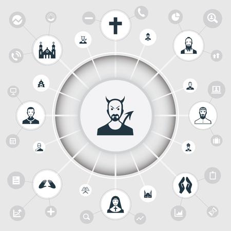 Vector Illustration Set Of Simple Faith Icons Ilustração