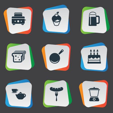 Vector illustratie Set van eenvoudige keuken pictogrammen Stock Illustratie