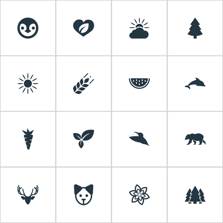 Vector Illustration Set Of Simple Ecology Icons Illustration