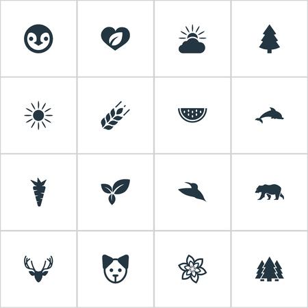 Vectorillustratiereeks Eenvoudige Ecologiepictogrammen Stock Illustratie