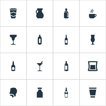 Vector Illustration Set Of Simple Beverage Icons
