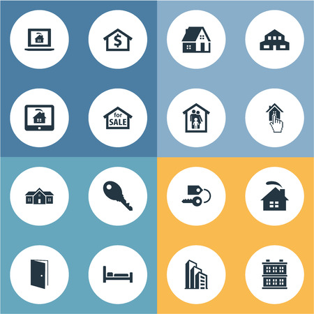 Vector Illustration Set Of Simple Estate Icons