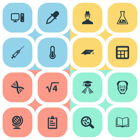 astrologer: Vector Illustration Set Of Simple Science Icons