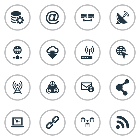 Vector Illustration Set Of Simple Network Icons 向量圖像