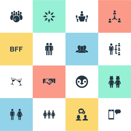 Vector Illustration Set Of Simple Friends Icons