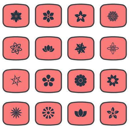 シンプルな桜のアイコンのベクトル イラスト セット