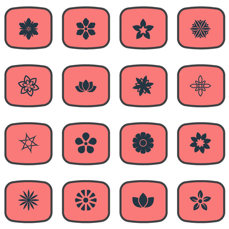 Vector Illustration Set Of Simple Blossom Icons 向量圖像