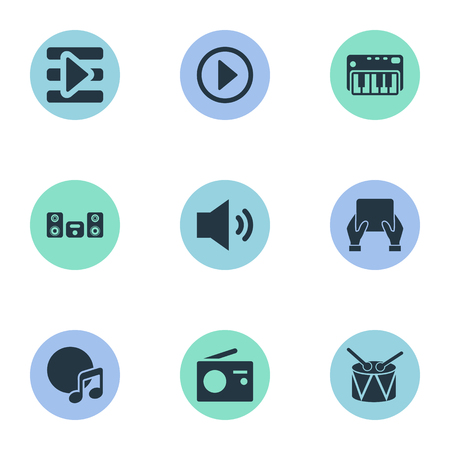 Vector Illustration Set Of Simple Melody Icons