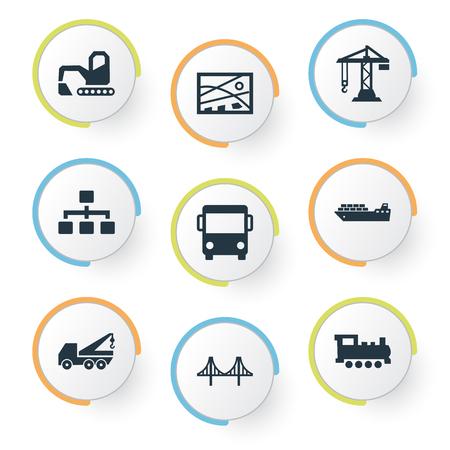 Vector Illustration Set Of Simple Transportation Icons Illustration