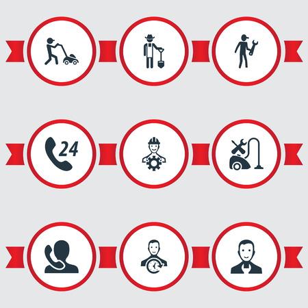 Vektor-Illustration Satz von einfachen Service-Icons Standard-Bild - 82342888