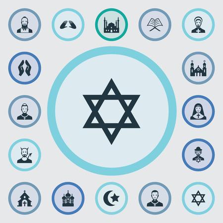 Vector Illustratie Set Van Eenvoudige Religie Pictogrammen