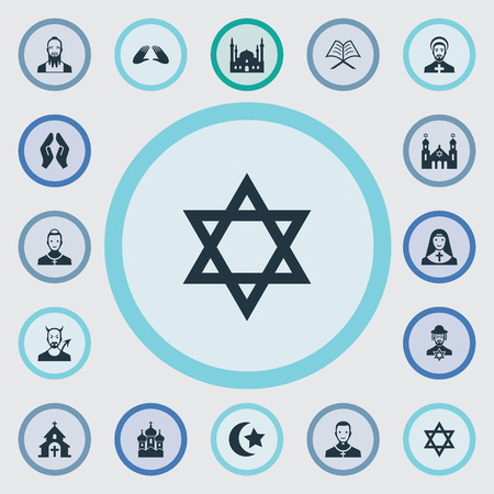 Vector Illustration Set Of Simple Religion Icons