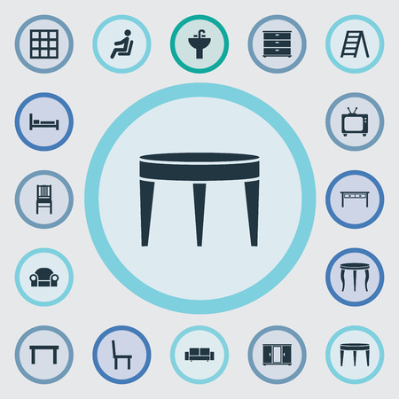 Vector illustratie Set van eenvoudige meubels pictogrammen