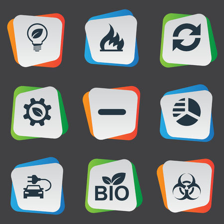 Vector Illustration Set Of Simple Ecology Icons 向量圖像