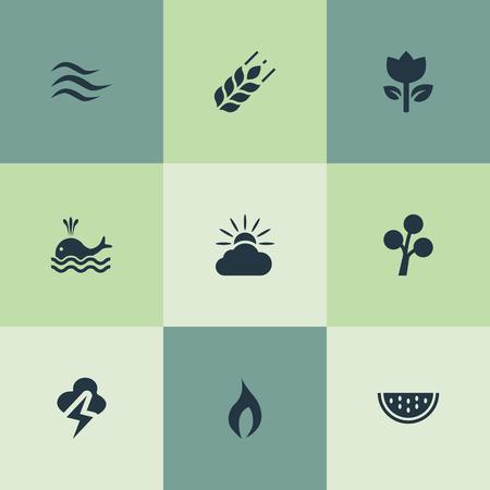 Vector Illustratie Set Van Eenvoudige Geo Pictogrammen