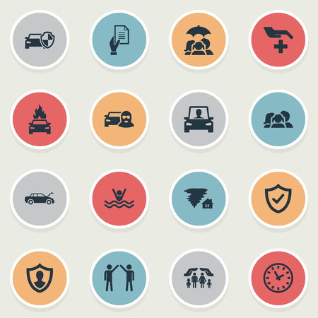 Vector Illustration Set Of Simple Safeguard Icons Imagens