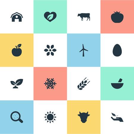 insolación: Ilustración vectorial Conjunto de iconos de la naturaleza simple Foto de archivo